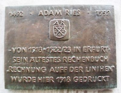 Adam Ries Marker image. Click for full size.