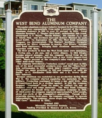 The West Bend Aluminum Company Marker image. Click for full size.