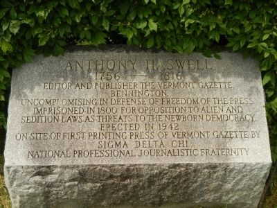 Anthony Haswell Marker image. Click for full size.