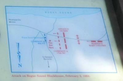 Close up of the map on the Bogue Sound Blockhouse Marker image. Click for full size.