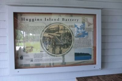 Huggins Island Battery marker located on the front porch of the visitor center image. Click for full size.