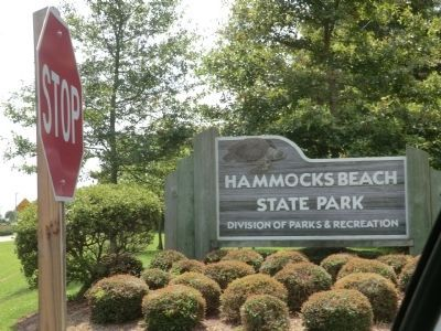 Sign at the entrance to Hammocks Beach State Park image. Click for full size.