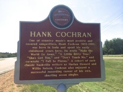 Hank Cochran Marker (Front) image. Click for full size.