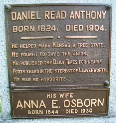 Daniel Read Anthony Marker image. Click for full size.