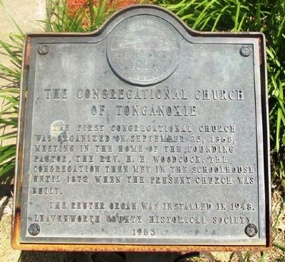 The Congregational Church of Tonganoxie Marker image. Click for full size.