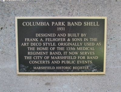 Columbia Park Band Shell Marker image. Click for full size.