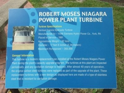 Robert Moses Niagara Power Plant Turbine Marker image. Click for full size.