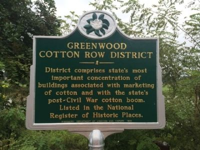 Greenwood Cotton Row District Marker image. Click for full size.