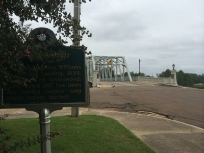 Wide shot of Greenwood Marker looking north towards Yazoo River bridge. image. Click for full size.