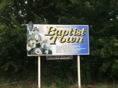 Baptist Town Sign (Part of dedication ceremony) image. Click for full size.
