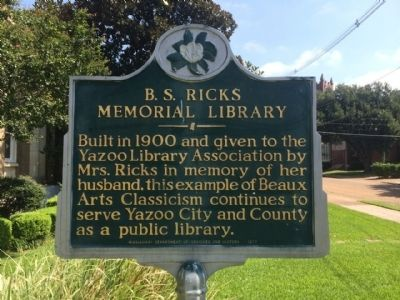 B.S. Ricks Memorial Library Marker image. Click for full size.