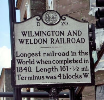 Wilmington and Weldon Railroad Marker image. Click for full size.