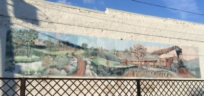 Nearby Painted Mural of a Steam Locomotive image. Click for full size.