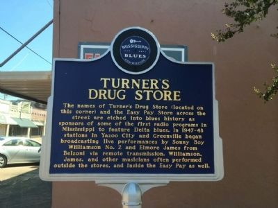 Turner's Drug Store Marker (Front) image. Click for full size.