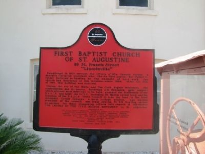First Baptist Church of St Augustine Marker image. Click for full size.