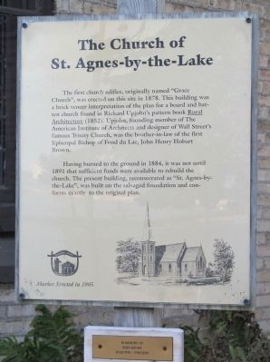 The Church of St. Agnes-by-the-Lake Marker image. Click for full size.