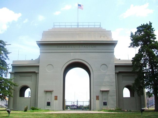Haskell Stadium Memorial Arch image. Click for full size.