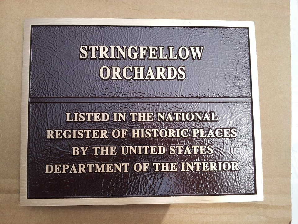Stringfellow Orchards National Register Plaque