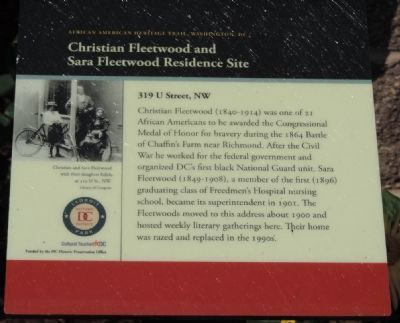 Christian Fleetwood and Sara Fleetwood Residence Site Marker image. Click for full size.