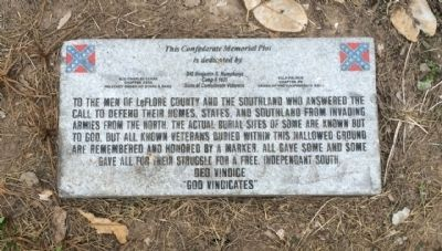 Confederate Memorial Plot Marker image. Click for full size.