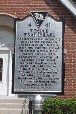 Temple B&#39;Nai Isreal Marker<br>Front image. Click for full size.