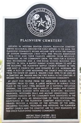 Plainview Cemetery Texas Historical Marker image. Click for full size.