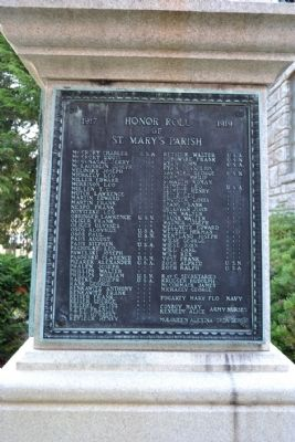 St. Mary's Parish World War I Memorial and Honor Roll Marker image. Click for full size.