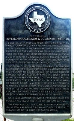 Buffalo Bayou, Brazos & Colorado Railroad Marker image. Click for full size.