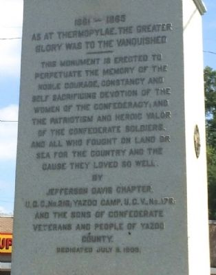 Yazoo City Civil War Memorial Marker image. Click for full size.