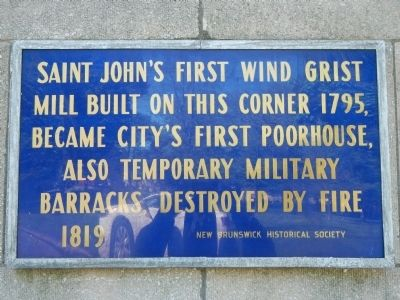 Saint John's First Wind Grist Mill Marker image. Click for full size.