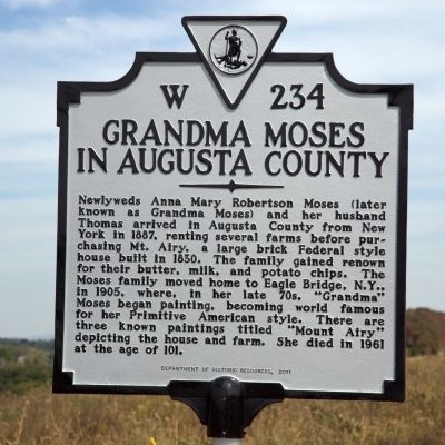 Grandma Moses in Augusta County Marker image. Click for full size.