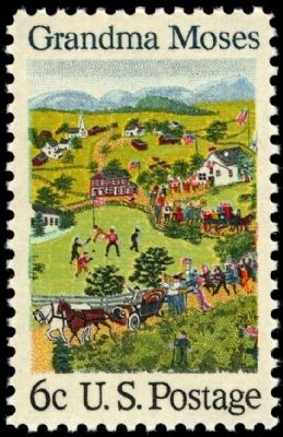 1969 U.S. Commemorative Postage Stamp Honoring Grandma Moses image. Click for full size.