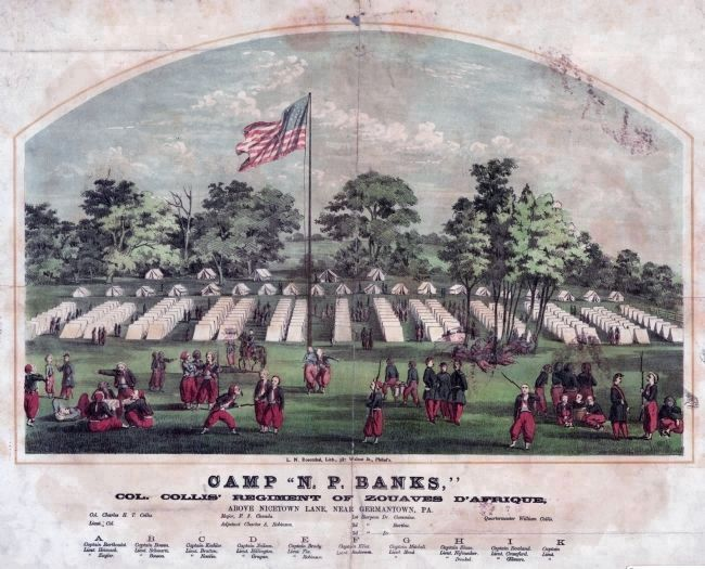 "Camp ""N. P. Banks,"" Col. Collis' Regiment of Zouaves d'Afrique image. Click for full size."