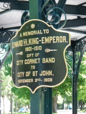 King Edward VII Memorial Bandstand dedication plaque image. Click for full size.
