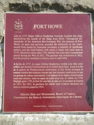Fort Howe Marker image. Click for full size.