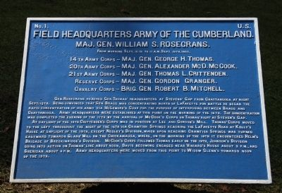 Field Headquarters Army of the Cumberland Marker image. Click for full size.