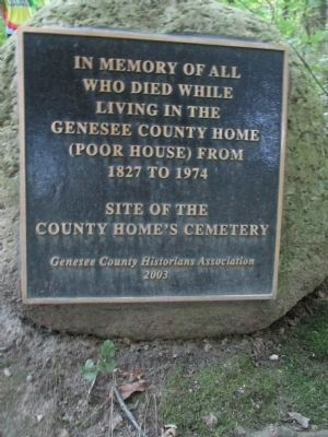 Poor House Cemetery Memorial Plaque image. Click for full size.