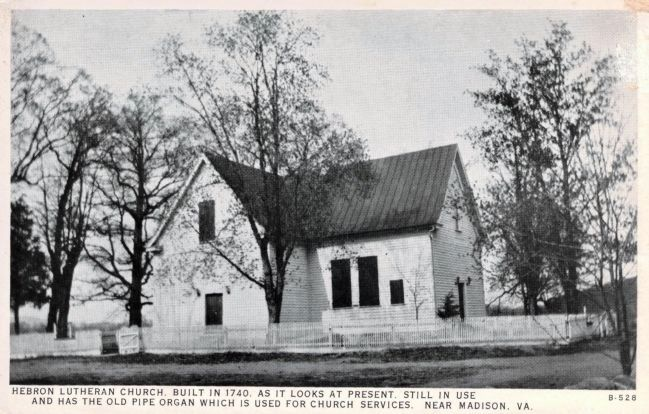 """Hebron Lutheran Church. Built in 1740. As it looks at present."" image. Click for full size."