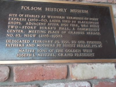 Folsom History Museum/ NSGW Marker image. Click for full size.