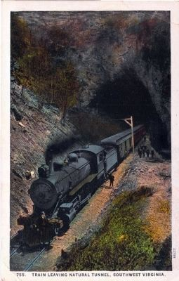 775. Train Leaving Natural Tunnel, Southwest Virginia image. Click for full size.