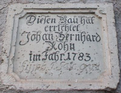 Engraved Stone Marker on Granary Wall image. Click for full size.