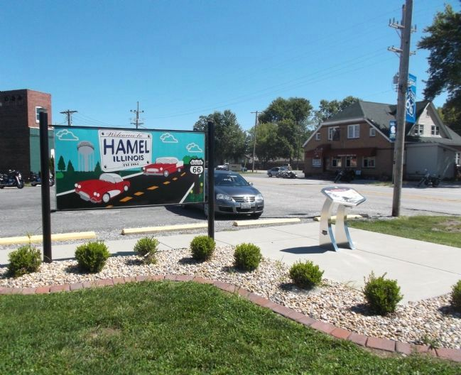 """Welcome to Hamel"" Billboard and Hamel Wayside Marker image. Click for full size."