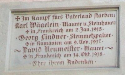 St. Jakob's Church World War I Memorial Marker image. Click for full size.