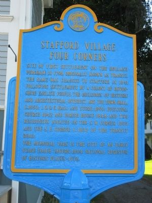 Stafford Village Four Corners Marker image. Click for full size.