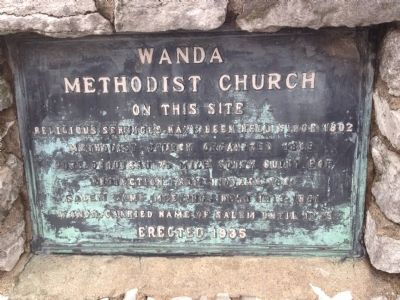 Wanda Methodist Church Marker image. Click for full size.