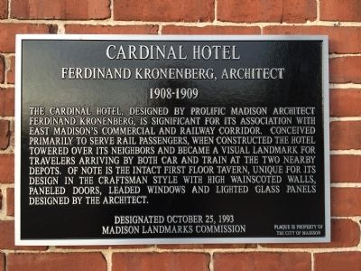 Cardinal Hotel Marker image. Click for full size.