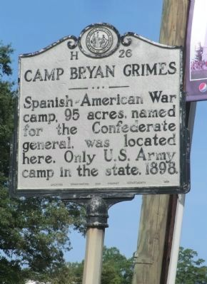 Camp Bryan Grimes Marker image. Click for full size.