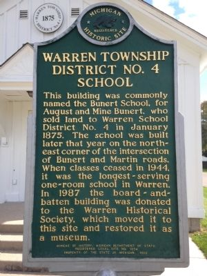 Warren Township District No. 4 School Marker image. Click for full size.