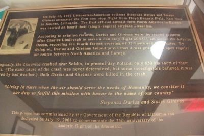 Lituanica Marker inside Ryan Visior Center at Floyd Bennett Field image. Click for full size.