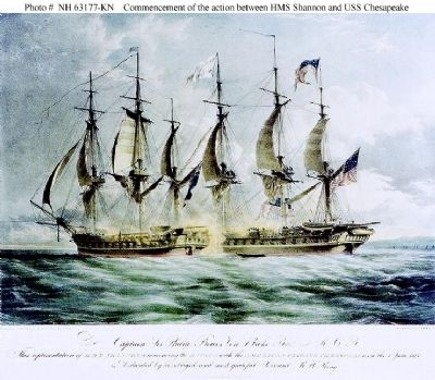 Commencement of the action between HMS Shannon and USS Chesapeake image. Click for full size.